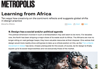 Article sur METROPOLISMAG.COM : African Design is Interdisciplinary, Informal and Courageous - 2015